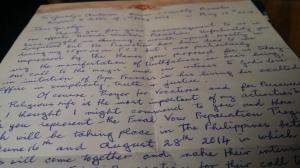 Letter from Teresa Hennessy FCJ